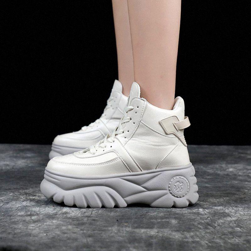 Femme Chunky Sneakers Haute Talons Chaussures 2019 Printemps Femme Casual Chaussures Top Top Platformers Sneakers pour Femmes Blanc / Noir Sneaker C43 #