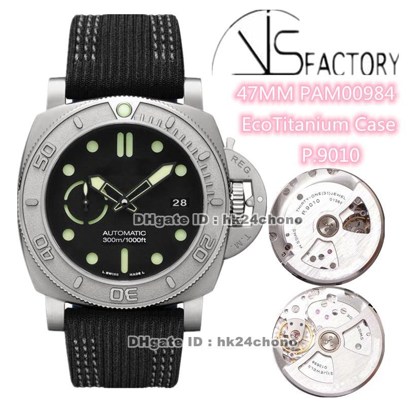 Versión superior vs 47mm Titanium VS984 P.9010 MENSA AUTOMÁTICO MENS ECotitanium Case Dial Black Strap Strap Strap Gents Watches