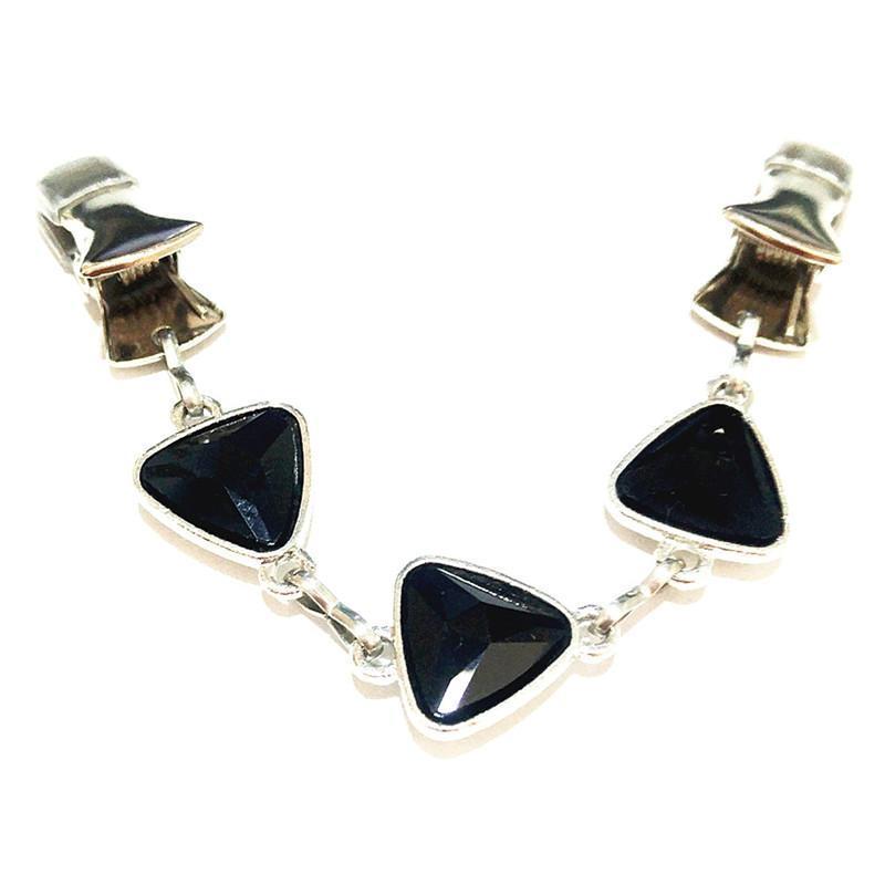 Black Triangle Kristall Schmuck Brosche Frauen Kleidung Clip Cardigan Pullover Guard Clasp Tuch Schal Schnalle Clips