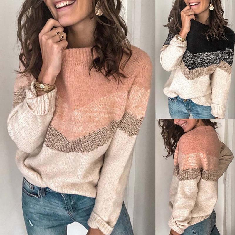 Frauenpullover Mode Farbe Kontrast Nähte Pullover Pullover Rundhals Raglan-Ärmel
