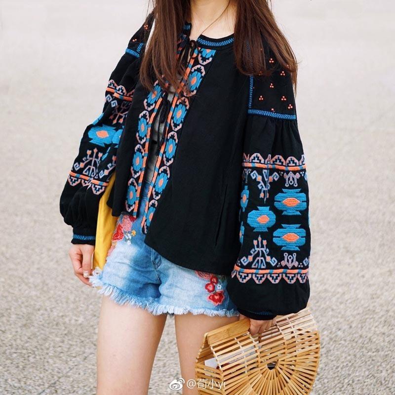 Pamuk Boho Teelynn Çiçek Işlemeli Bluzlar Püskül Uzun Fener Kol Gevşek Casual Hippi Kadın Bluz ve A15O Tops