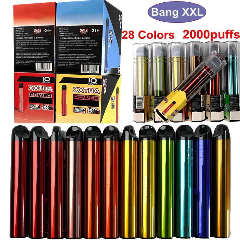 BANG XXL Disposable Vape Pens 2000Puffs 800mAh Battery 6ml Pre-filled Device Pods Empty Vapor Pod Bang XXTRA Starter Kits 28 Colors