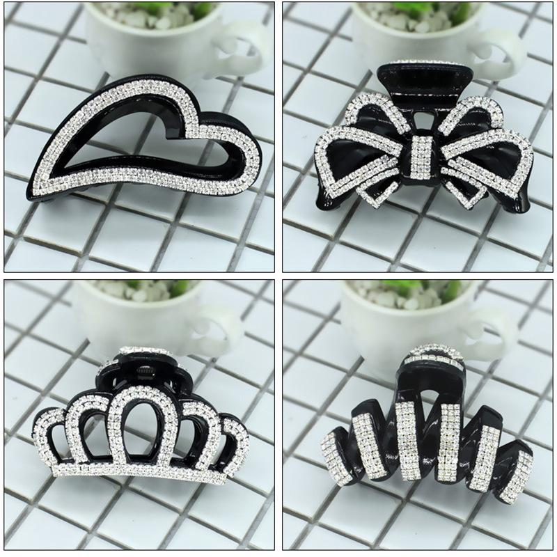 3989 Korean Hair Accessories Full Hairpin Inlaid with Diamond Rhinestone Bow Clip