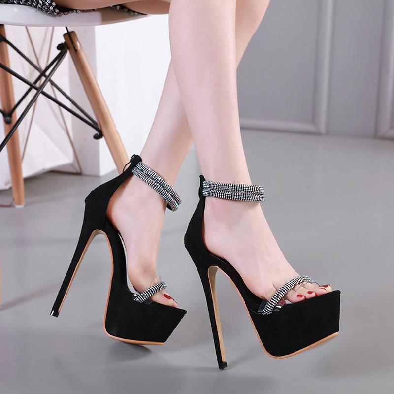 2021 Sandalet Temizle Topuklu Kadın Ayakkabı Slip-On Loafer'lar Yaz kadın Yeni Stiletto Kızlar Seksi Kadife Bej Elastik Bant Konfor H