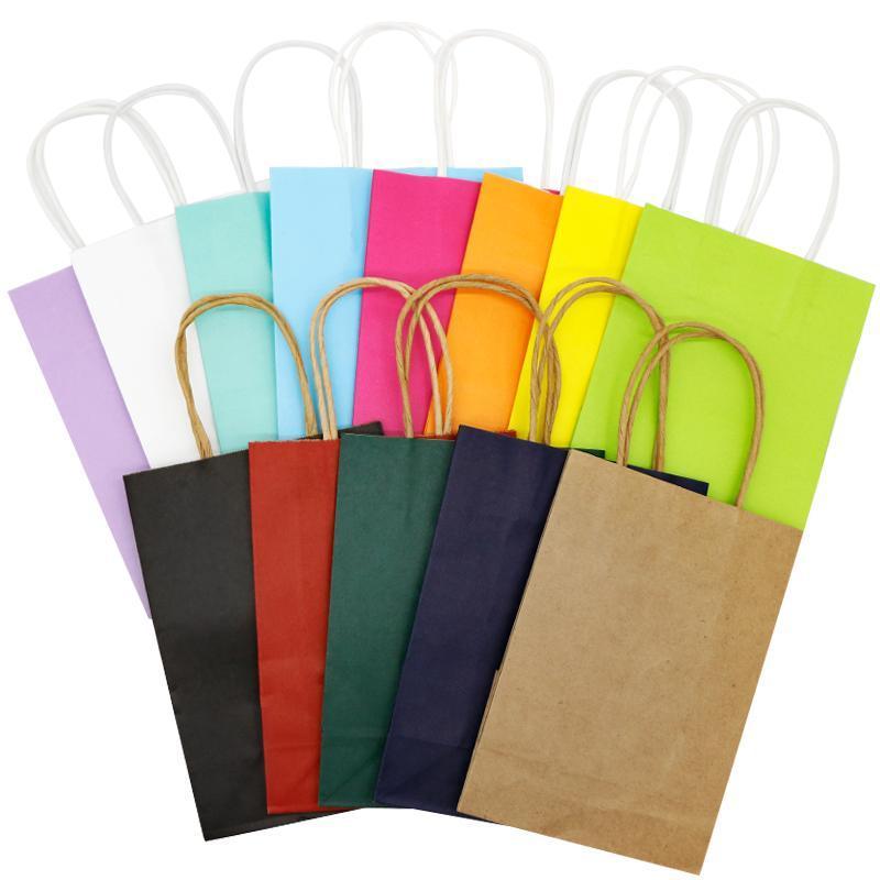 Geschenk Wrap 5 stücke Anpassen Pappentaschen Packaging Shopper Business Candy Bar Geschenk Kraft Bronzing Bunte Hochzeit Geburtstag Party Tote