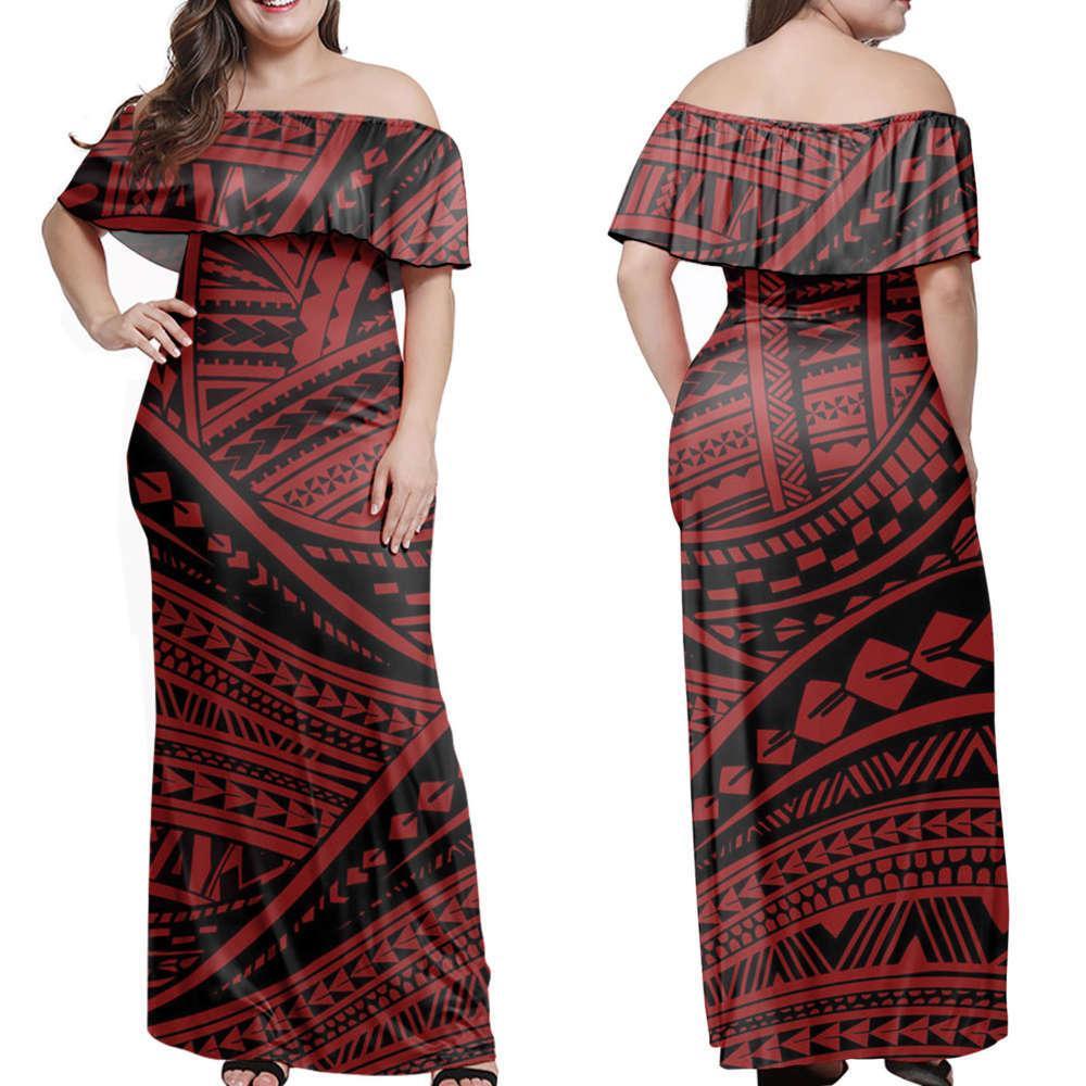 Nuovo abito Polinesiano One Spalla Tonga Gonna lunga Gonna grande Polinesiana