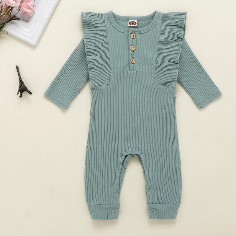 Neugeborene Säuglings Baby Jungen Mädchen Langarm Solide Rüschen Strampler Overall 3M-18M Baby Mädchen Winter Strampler Infantis Kostüm