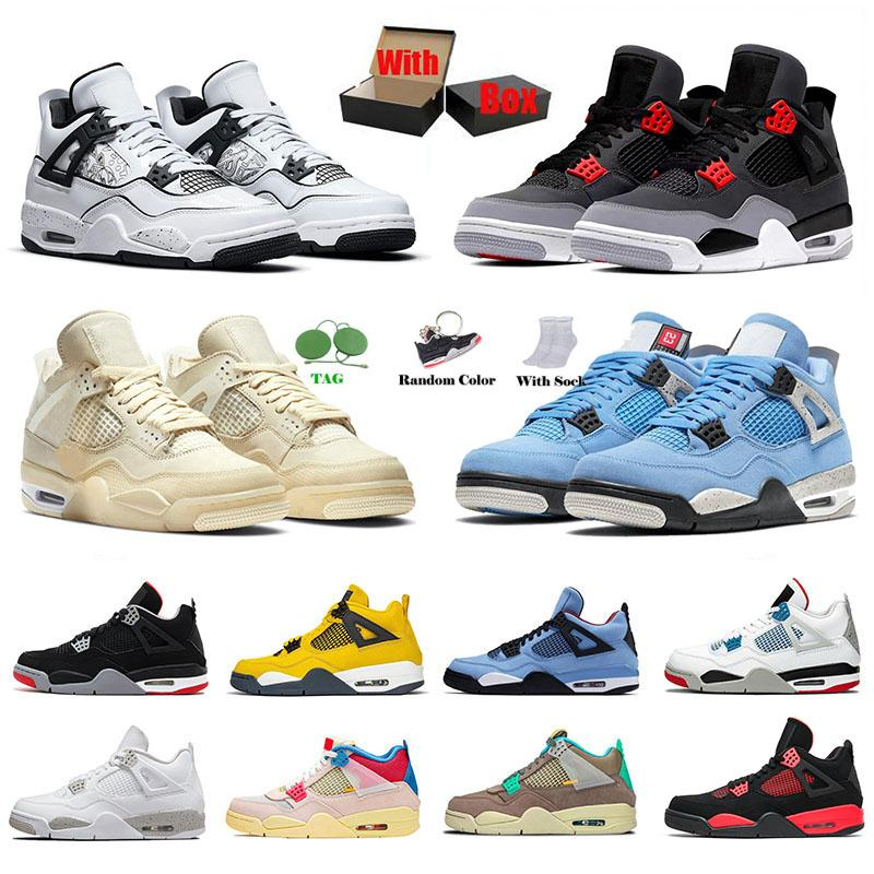Avec boîte Nike Air Jordan Retro 4 OFF White Sail Jordans 4s Hommes Femmes Des Chaussure de basket-ball Jumpman AJ University Blue Travis Scott Manila What The IV Baskets de sport