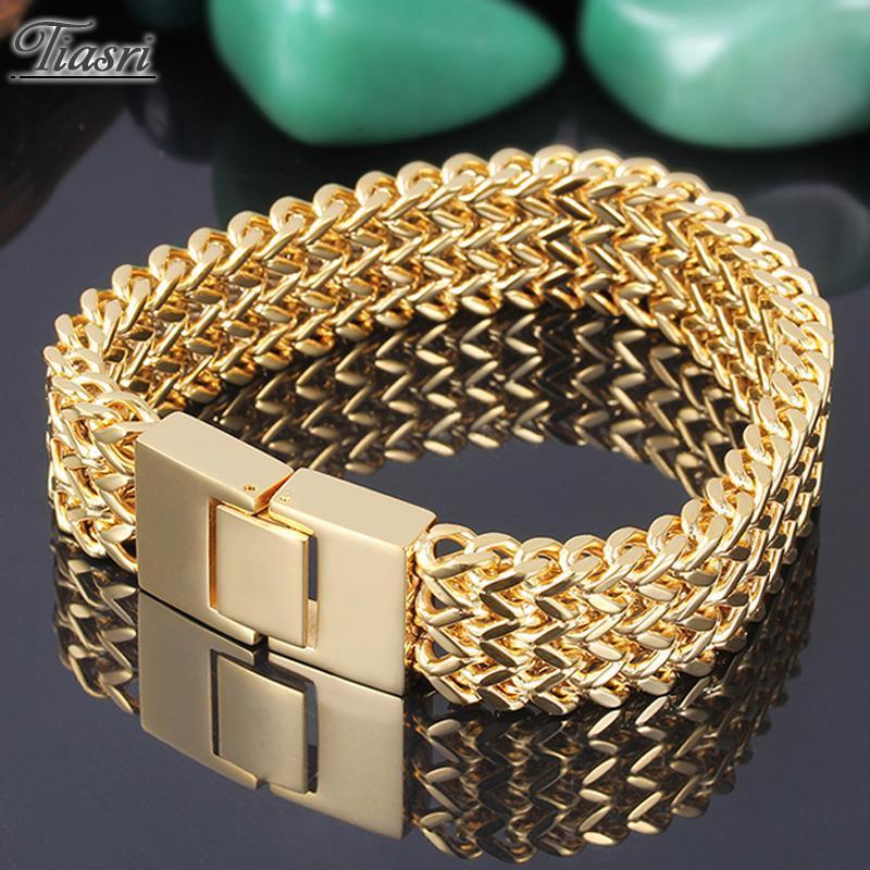 Link, kette tiasri 18mm breite gold farbe 316l edelstahl massiv figaro armband männer modeschmuck drei lakt flechten prozess
