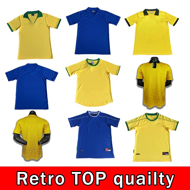 94 98 Brasil Soccer Jerseys 02 Retro Camisas Carlos Romario Ronaldo Ronaldinho 2004 Camisa de Futebol 1994 Brasil 2006 1982 Rivaldo Adriano