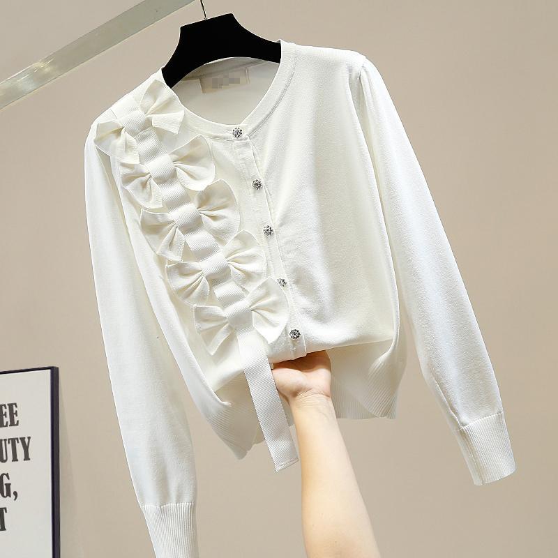 Sonbahar Moda 2021 Tasarım Tek Taraflı Yay Elmas Tek göğüslü Örme Hırka Ceket kadın Pembe Kazak Jumper Lad 0xa7