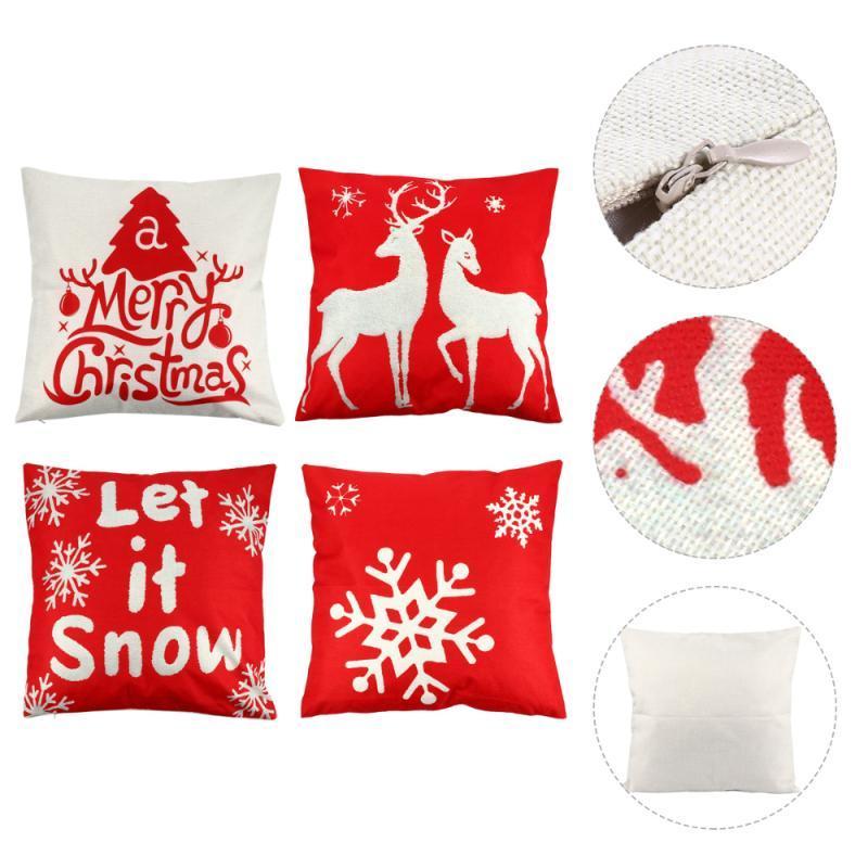Cushion/Decorative Pillow 4pcs Christmas Pillowcases Durable Linen High Quality Prime Premium Case Pillowslip Cover For