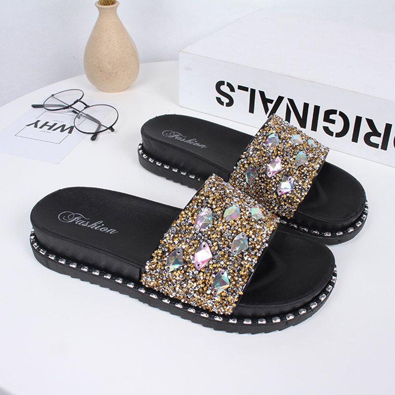 Senhoras lisas sapatos brilhantes decoração de cristal praia flip flops chinelos senhoras sandálias de verão sapatos legais em três cores