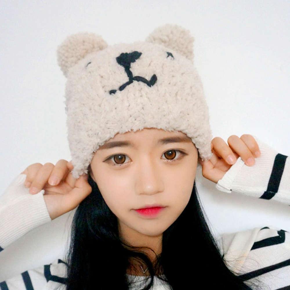 Koreanischer Kinder-Doppelkugel-Bären-Ohr-Schutz gestrickt Herbst- und Winter-Baby-handgefertigter Elternkind-Wollhut-Mode