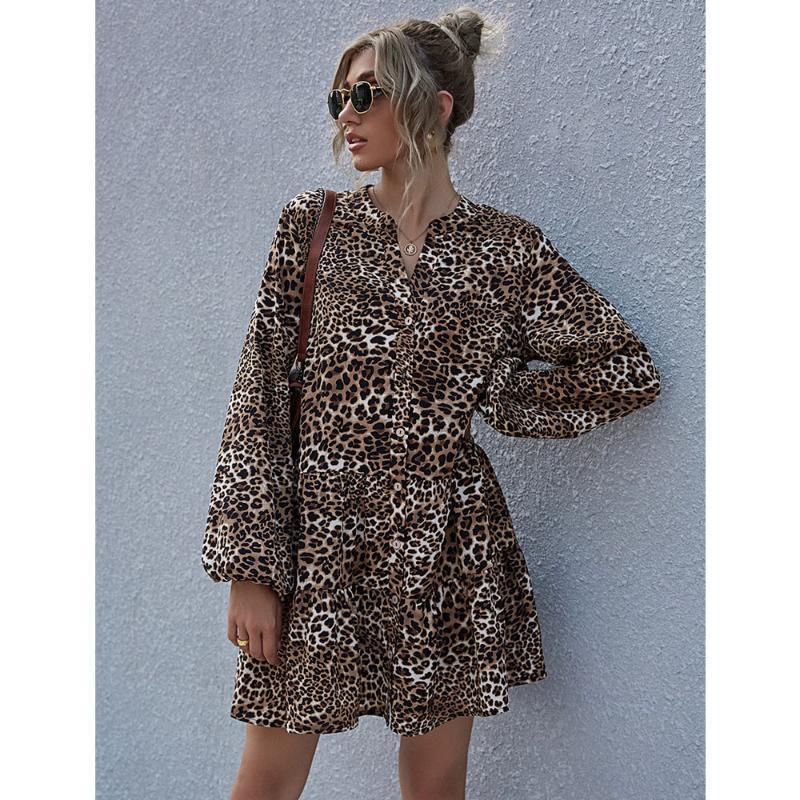 Leopard Imprimir A-line Vestido de volantes Linterna Camisa de manga larga Vestido Vestido en V Mini vistes de pecho para mujer Tallas grandes