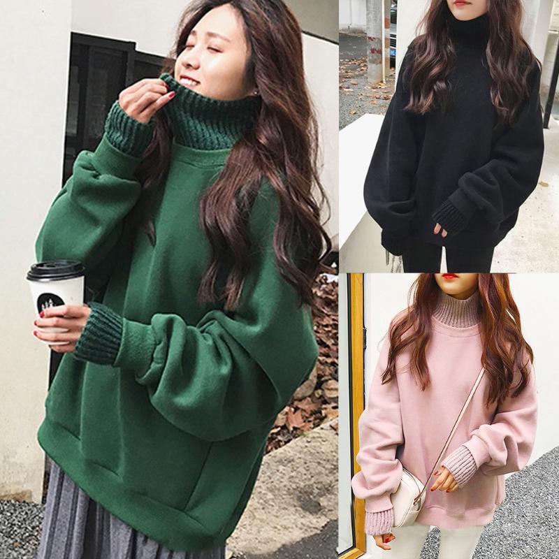 Women's Hoodies & Sweatshirts Women Autumn Fake Two Piece Top Sweatshirt Turtleneck Black Long Sleeve Solid Thick Blouse Lady Casual O