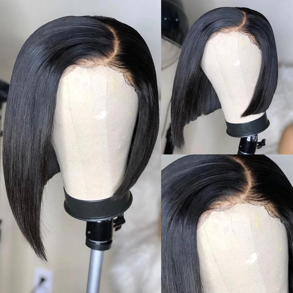 Düz Remy Perulu 13x6 Dantel Ön İnsan Saç Peruk Kısa Bob 360 Frotnal Doğal Renk ile Saç Çizgisi Tam Sonu