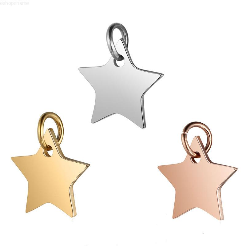 Pendant Five-pointed Aiovlo Stainless Steel 5pcs/lot Star Charms High Quality for Diy Necklace Bracelet Jewelry Making 12x13mm