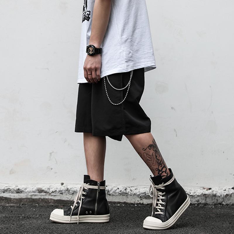 Calções de terno de cadeia preta em linha reta para homens e mulheres Oversize Sólido Casual Verão Calças Lenght