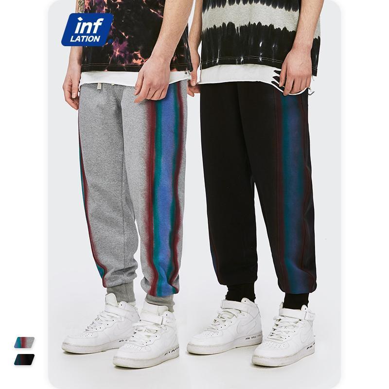 Inflation Hommes Sweat-Pantalon Vintage 2021 Nouveau look Vintage Couleur Contraste Couleur Élastique Taille en vrac Ajustement Sweatpant Hommes Joggers 3680SS21