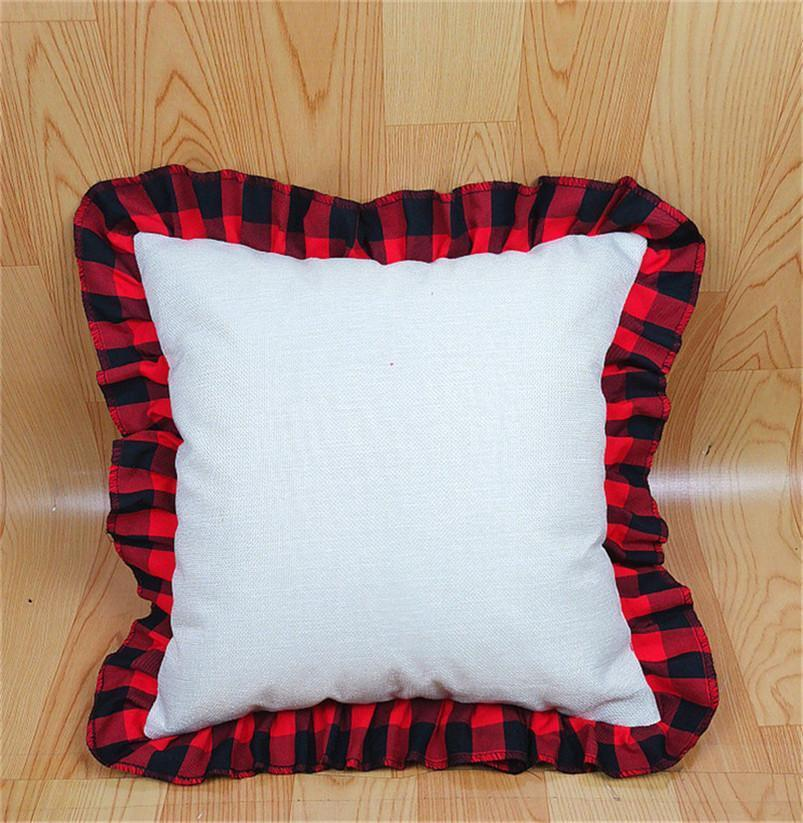 Sublimation Blanks Pillow Cover with Christmas Favor Red Grids Lattice Heat Transfer Printing 45*45cm Cushion Case Tartan Plaid Lace Pillowcases Home Decoration