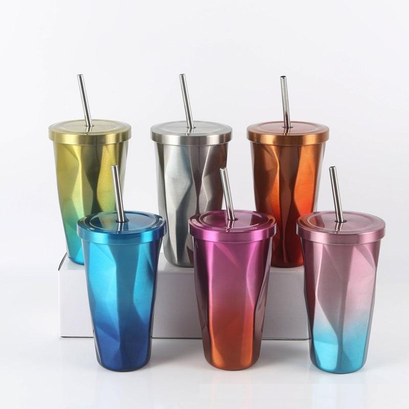 17 Unzen Edelstahl-Tasse Doppelwand-Kaffee-Tumbler mit Deckel und Strohhohen Kapazität Wasser-Tasse