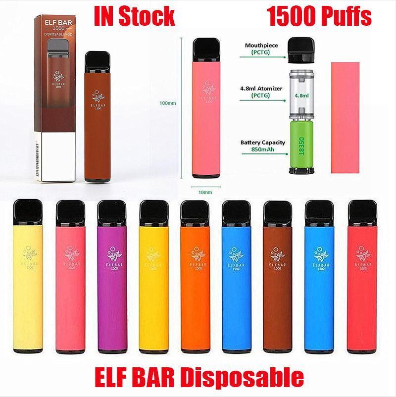 Bar elfe 1500buffs jetables E cigarettes Vape stylo 4,8 ml 2% de cartouche prérempli Pod Dispositif de cartouche 850mAh Battey Vaporisateur ajustable Elfar Geek Gunnpod