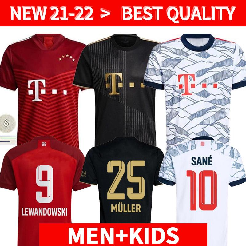 21 22 Bayern Coutinho Version Jersey Jersey Jersey Munich Lewandowski Muller Hernandez 2021 2022 Chemises de football Hommes + Enfants Kit Anniversary Munchese Enfants