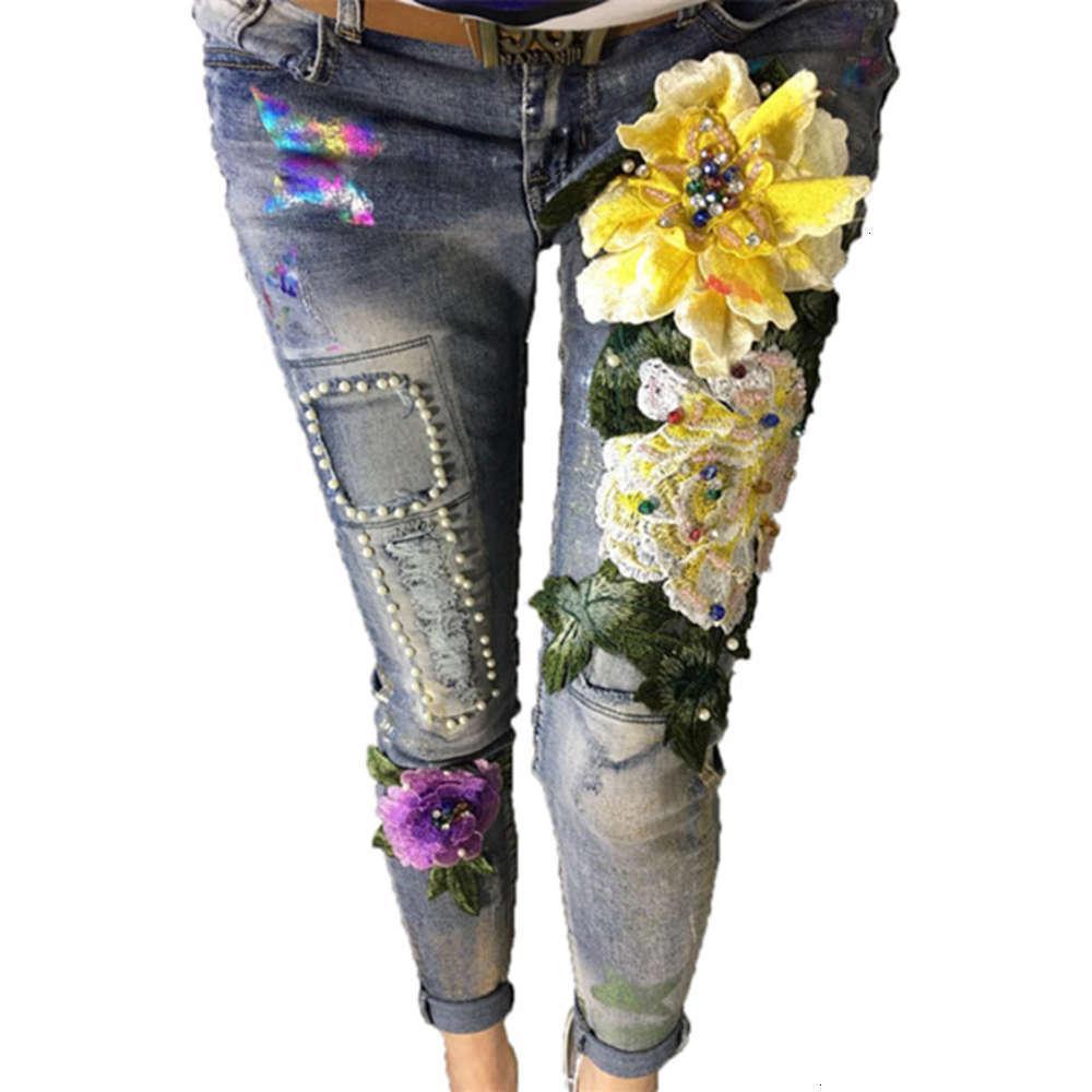 Оптом - женский карандаш джинсы весенние новые женские джинсы тонкие эластичные растягивающие брюки дамы мода повседневная вышитые вспышки джинсы