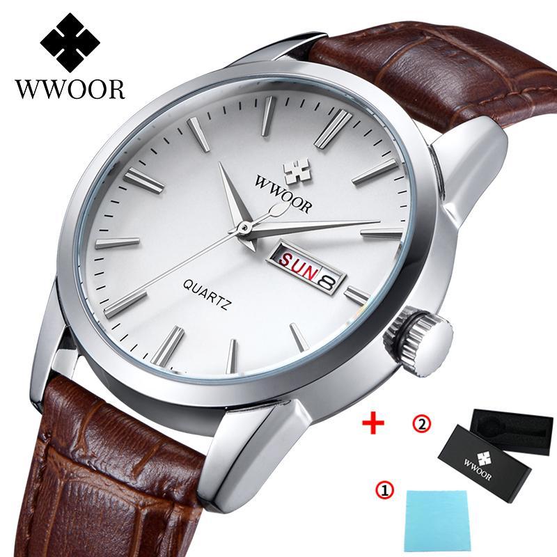 Wwoor Leather Men's Watch Top Brand Fecha de lujo Fecha Relojes impermeables para hombre Reloj de pulsera de cuarzo casual para hombres Relogio Masculino 210310