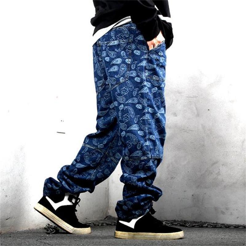 Trendy Men Plus Size Jeans Allentato Bangy Casual Denim Pantaloni Dritto Pantaloni dritti Hiphop Harem Jean Streetwear Abbigliamento da uomo