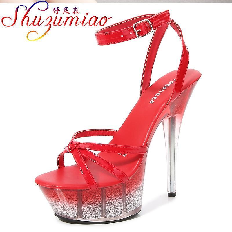 Sandals Shuzumiao Обувь для женщин 2021 Прозрачная Платформа прозрачных каблуков Мода Сексуальные Тонкие каблуки Золото-пыль Блеша Вечеринка
