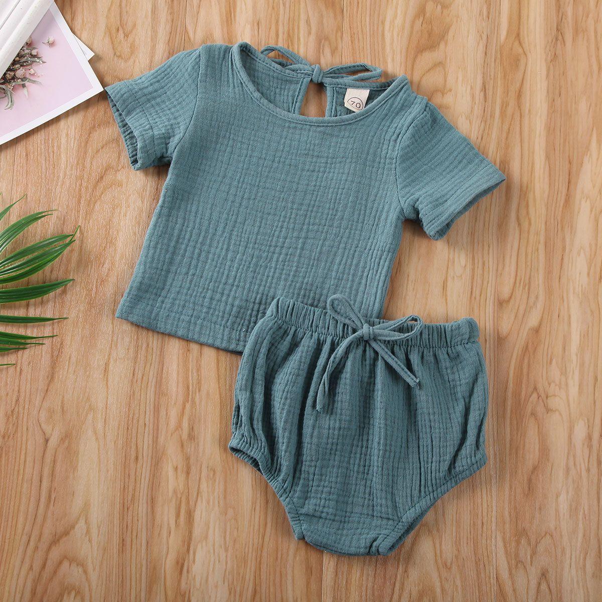 Baby sommer kleidung junge kleidung set baby mädchen baumwollinen tops + kinder shorts neugeborene hosen solide 2 stücke kurze hülse outfits