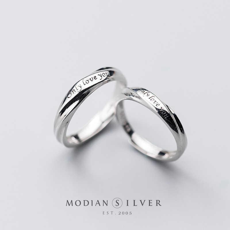 Modian Romantik Oyma Mektup Yüzük Erkekler ve Kadınlar Için 925 Ayar Gümüş Bir Çift Ayarlanabilir Severler Alyans Güzel Takı Y0611