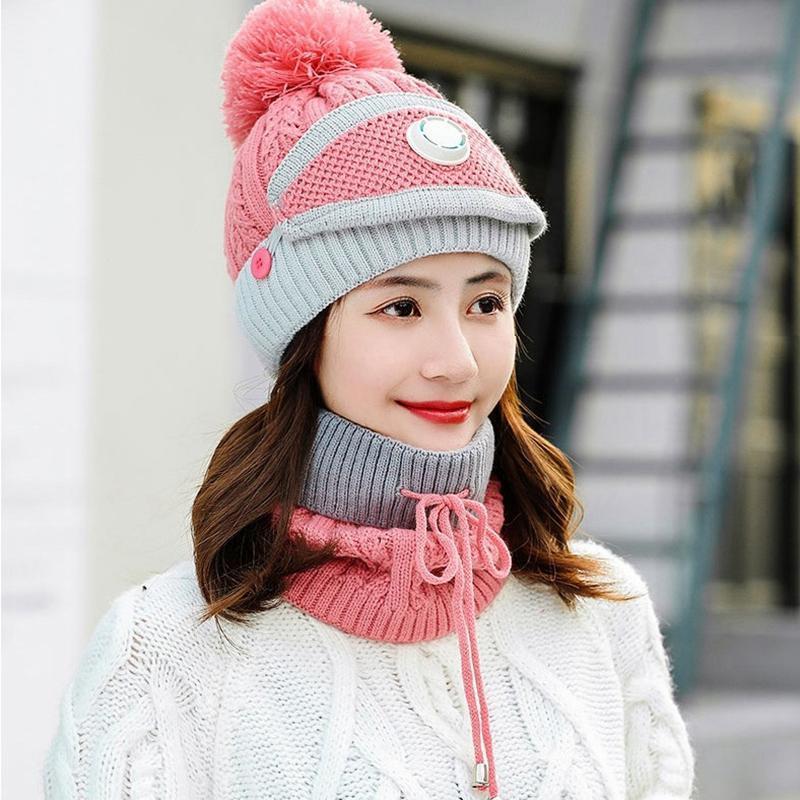 المرأة محبوك قبعة وشاح قبعات الرقبة أدفأ الشتاء قبعة للسيدات الفتيات الدافئة الصوف قبعات