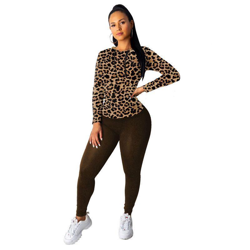 Tshirt Color Sólido Slim Pantalones Famale Dos piezas Set Para Mujer Leopardo Imprimir Casual Chándal Moda Manga larga