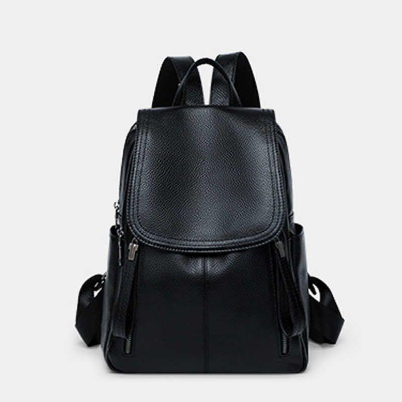 جلد طبيعي حقيبة جلد البقر الحقيقي المرأة حقيبة المرأة الفاخرة مصمم العلامة التجارية الشهيرة المرأة حقيبة مدرسية حقيبة مدرسية أسود Q0528