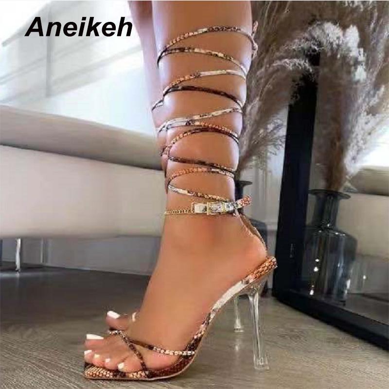 Сандалии Aneikeh женская обувь кроссвязанный Python Pattern PU узкая полоса 2021 летние смешанные цвета тонкие высокие каблуки мода Zapatos de mujer