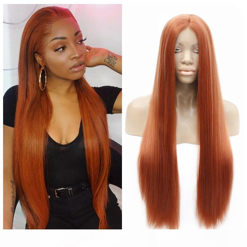 Косплей синтетический кружевной фронт фронт шелковистый прямой оранжевый цвет теплостойкостойкий волокна волосы безразличного пастельного кружева передний пастель для черного