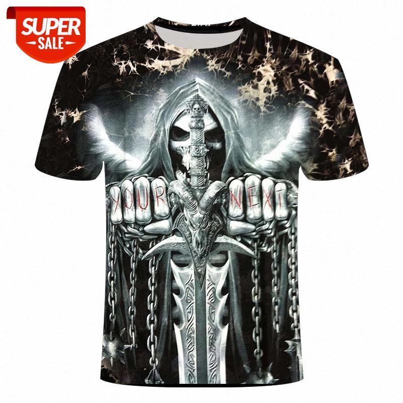 Cráneo camiseta hombres esqueleto camiseta punk rock tshirt gun camisetas 3d impresión camiseta vintage gótico para hombre ropa de verano tops # dt7m