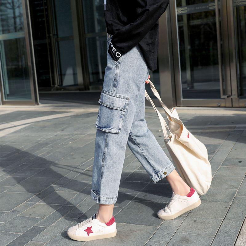 Primavera Autumn New 2020 Jeans Denim Jeans da donna ad alta vita sottile allentato larga gamba larga dritta grande taglia 3XL Stretch Daddy Harem Pants Q0128