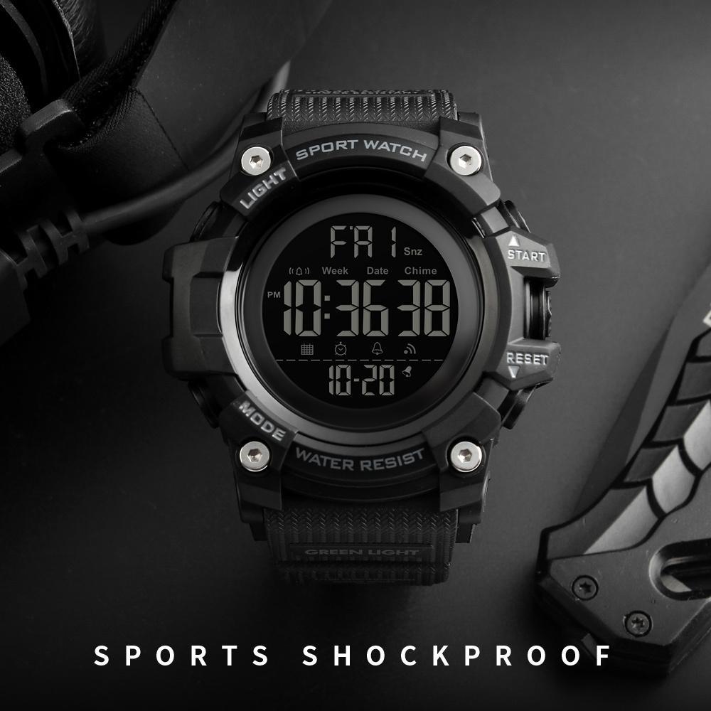 SKMEI Countdown Stopwatch Sport Watch Mens Watches Top Brand Luxury Men Wrist Watch Waterproof LED Electronic Digital Male Watch C0227