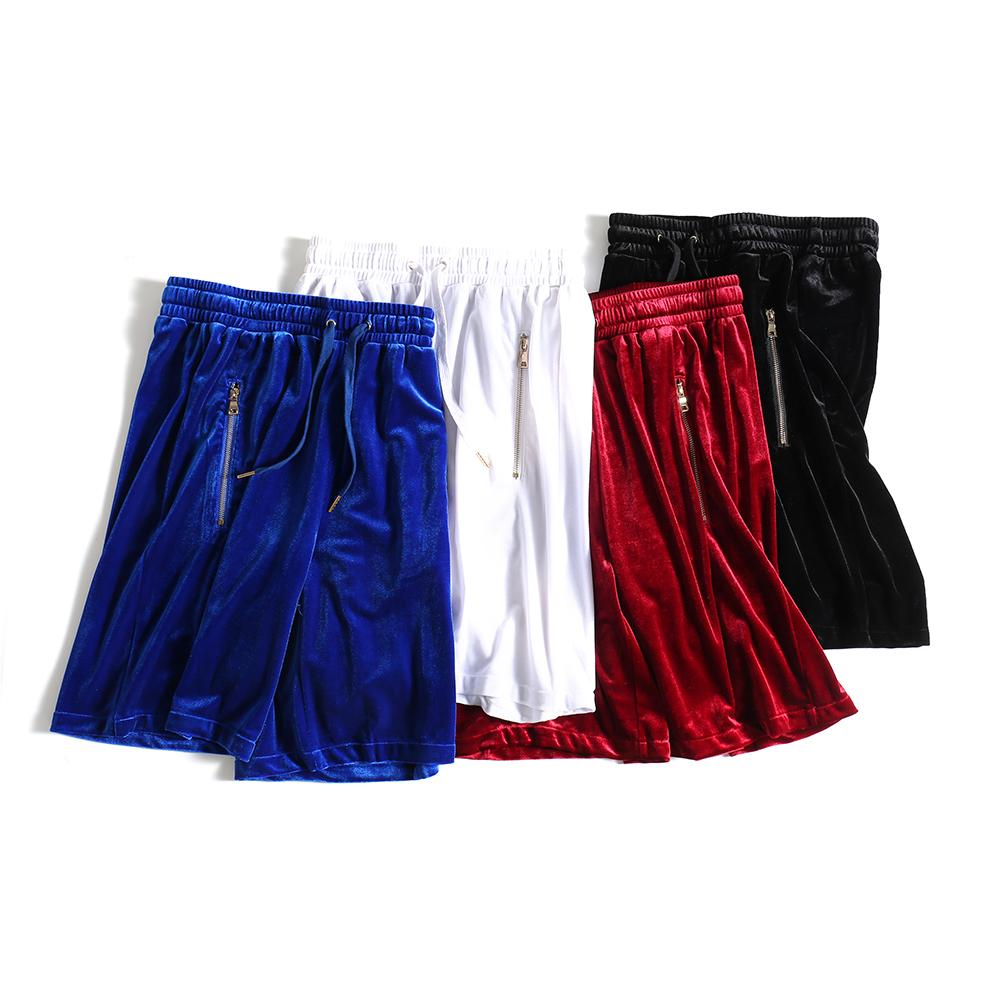 Pantaloncini in velluto da uomo Hip-Hop Mesh Oversize Mesh Velor Breve Banda Bianco / Bianco / Rosso / Blu Velvet Side Zivper Joggers Shorts Maschio 210302