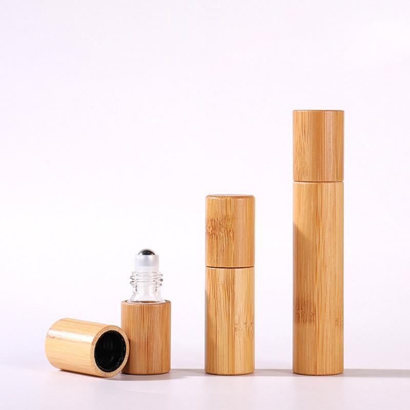 3ml / 5ml / 10ml 자연 대나무 나무 롤러 병 공 에센셜 오일 향수 향기에 스테인리스 롤