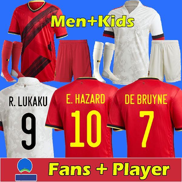2021 بلجيكا كرة القدم جيرسي مراوح المشجعين دي بروين خطر Lukaku Merstens Tielemans كرة القدم قميص أعلى تايلاند جودة الرجال + أطقم أطفال