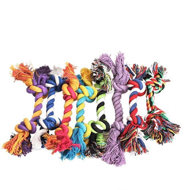 Animaux Chien Chews Chews Knot Toys Colorful Durable Tresse osseuse osseuse 18cm Chien drôle chat jouets