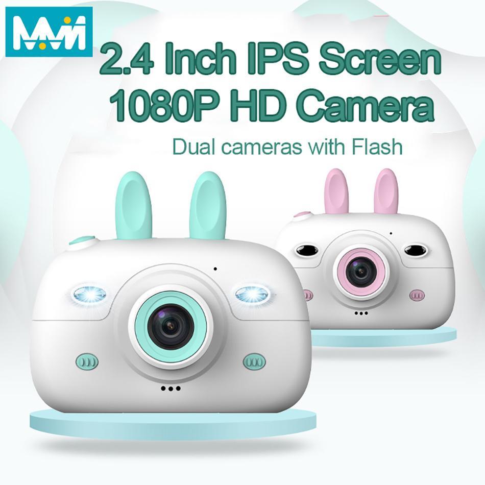 Kids Camera Digital Camera 1080P HD شاشة مع 18MP Selfie كاميرا للأطفال كاميرا فلاش 2.4 بوصة IPS سجل ألعاب الفيديو للأطفال