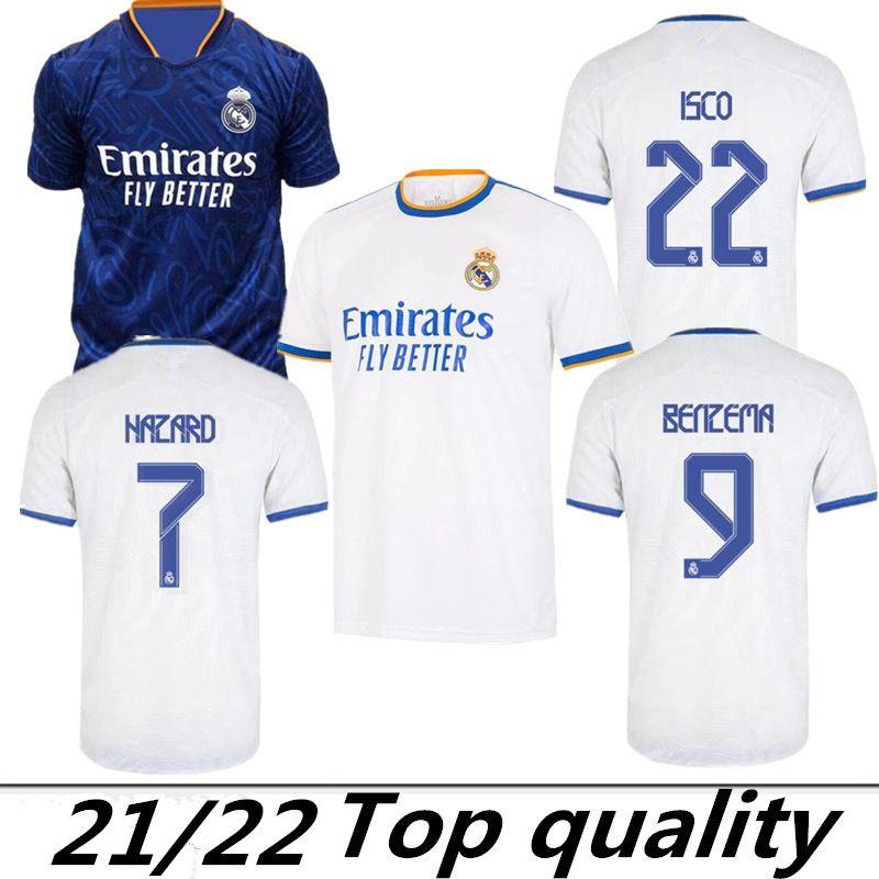 Gerçek Madrid Formalar 21/22 Futbol Forması 7 # MBappe Tehlike Sergio Ramos Benzema Vinicius Camiseta Futbol Gömlek Üniforma Erkekler 2022 2021