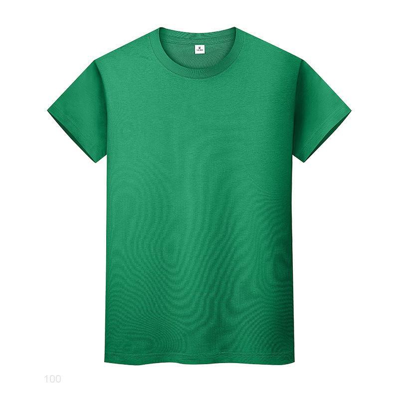 Nouveau t-shirt de couleur solide ronde en coton de coton chemise à manches courtes et à manches courtes Halles à manches longues