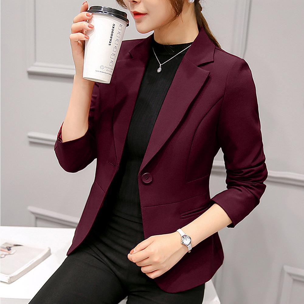 DIHOPE 2020 Casual Coat manteau Solide Automne Outwear Business veste Femmes Skin Skin Skin Blazer